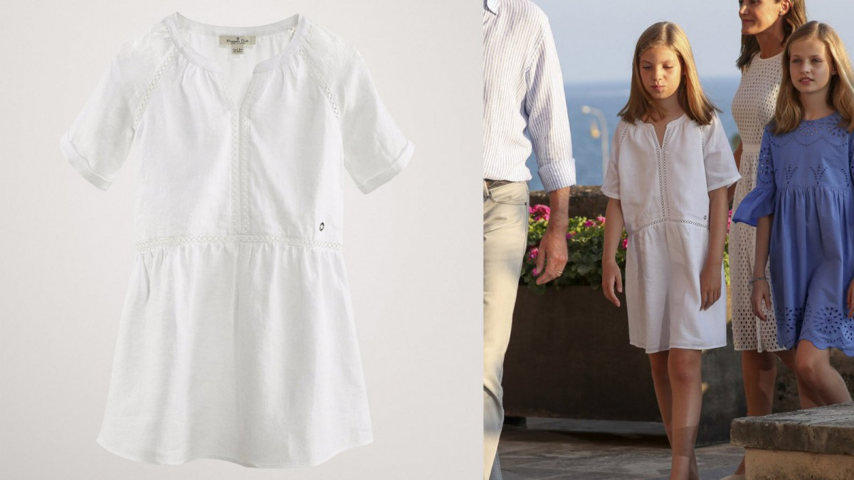 Massimo Dutti's white dress by Infanta Sofia, for 35,95 euros